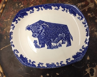 Blue and White Plates Beefeater Bull Highland Cow Dinner Plate Serving Plate : cow dinner plates - pezcame.com